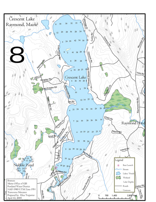 Water Depth Map Crescent Lake Watershed Association - Water depth map